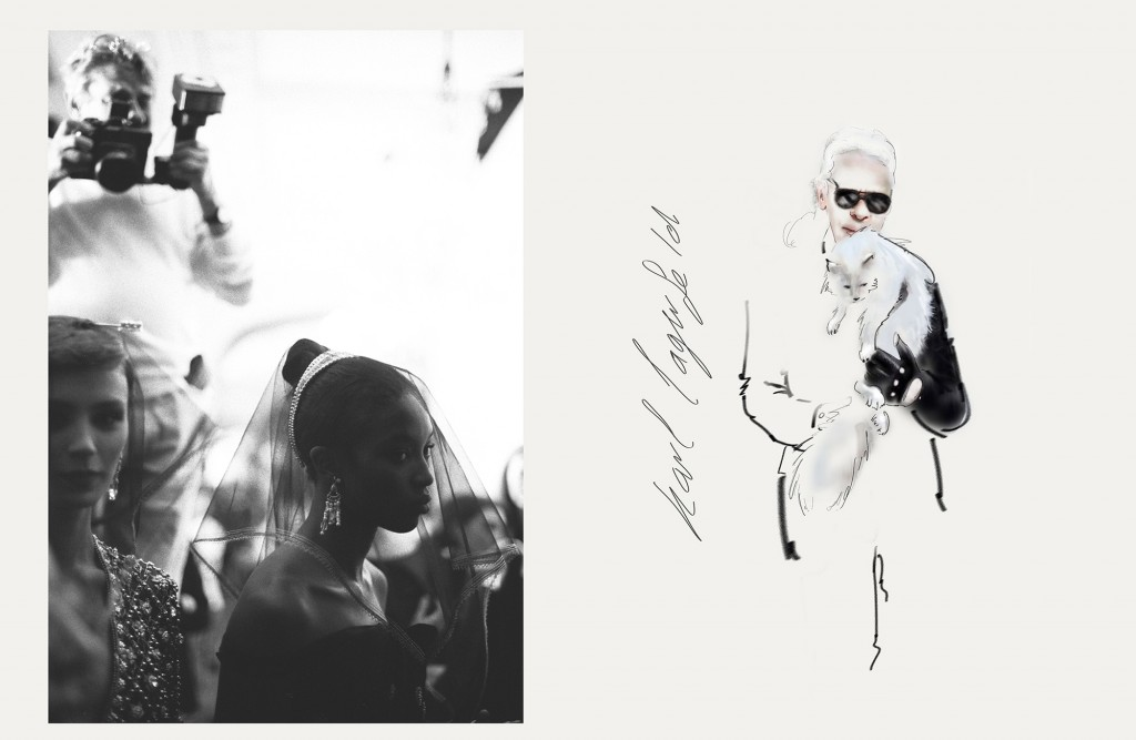 Helmut Newton Shooting Naomi Campbell Dior show illustration Karl Lagerfeld met cat Shoupette kopiëren
